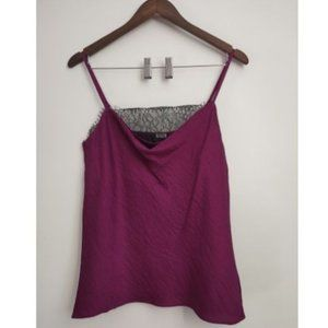 NWT 1. STATE purple with lace silky top